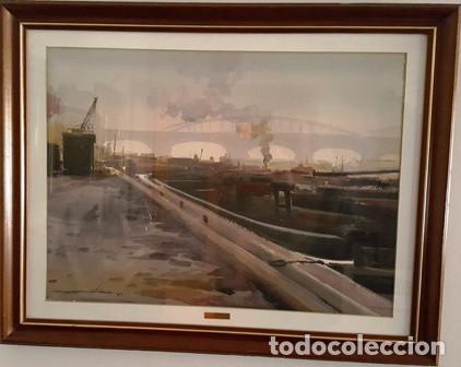 CUADRO - ACUARELA - PARIS - SENA - JOSEP MARFA GUARRO - BARCELONA - AA-1 AÑO 1987- (Arte - Pintura Directa del Autor)
