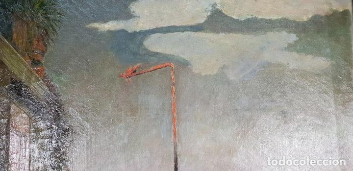 Arte: PAISAJE DE BALCÓN. ÓLEO SOBRE LIENZO. FIRMADO J. RIERA. SIGLO XX. - Foto 4 - 147477242
