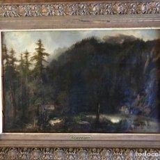 """Arte: GUSTAVE COURBET, OIL ON CANVAS. """" PAYSAGE DE MONTAIGNE AVEC CHAUMIERE""""27X42 CM. SIGNED G. COURBET. Lote 147504810"""