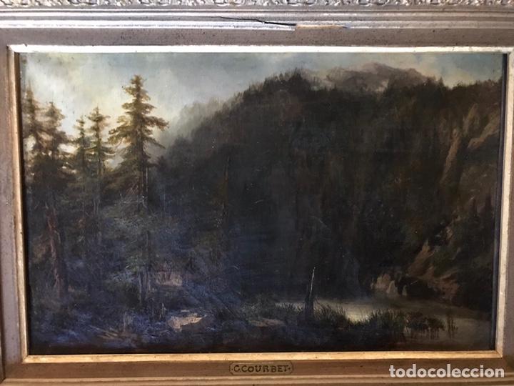"""Arte: Gustave Courbet, oil on canvas. """" paysage de Montaigne avec chaumiere""""27x42 cm. Signed G. Courbet - Foto 2 - 147504810"""
