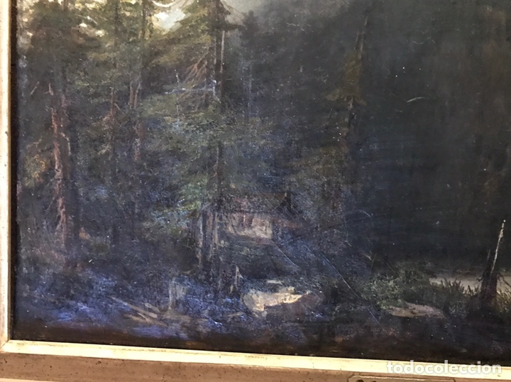 """Arte: Gustave Courbet, oil on canvas. """" paysage de Montaigne avec chaumiere""""27x42 cm. Signed G. Courbet - Foto 4 - 147504810"""
