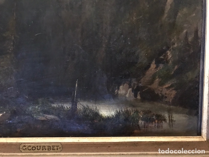 """Arte: Gustave Courbet, oil on canvas. """" paysage de Montaigne avec chaumiere""""27x42 cm. Signed G. Courbet - Foto 5 - 147504810"""