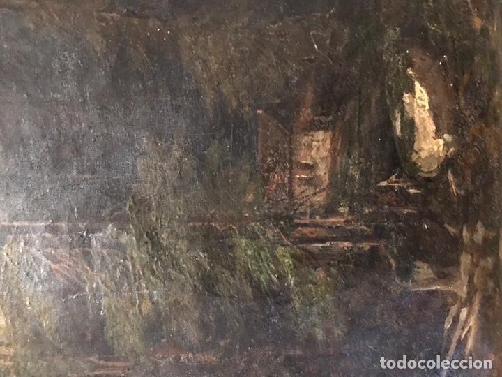 """Arte: Gustave Courbet, oil on canvas. """" paysage de Montaigne avec chaumiere""""27x42 cm. Signed G. Courbet - Foto 10 - 147504810"""