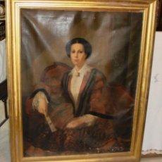 Arte: ÓLEO SOBRE LIENZO. S.XIX. RERATO DE MUJER VESTIDA DE ÉPOCA. GRAN TAMAÑO. BUEN MARCO DORADO.. Lote 147518774