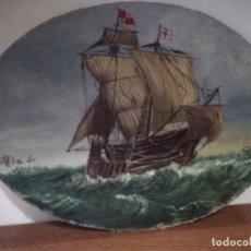 Arte: OLEO SOBRE LIENZO CARABELA ESPAÑOLA DEL SIGLO XV--- OLEO DEL XIX--- 24X18 CM---SIN FIRMA. Lote 147535562