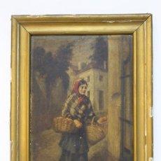 Arte: OLEO SOBRE CARTÓN. MUJER CON CESTO DE FRUTAS. PRIMERA MITAD DEL SIGLO XIX. . Lote 147544834