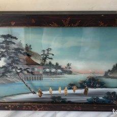 Arte: PRECIOSO CUADRO JAPONÉS ANTIGUO PINTADO SOBRE CRISTAL CON INCRUSTACIONES. Lote 147588702