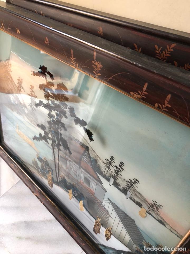 Arte: Precioso cuadro japonés antiguo pintado sobre cristal con incrustaciones - Foto 7 - 147588912