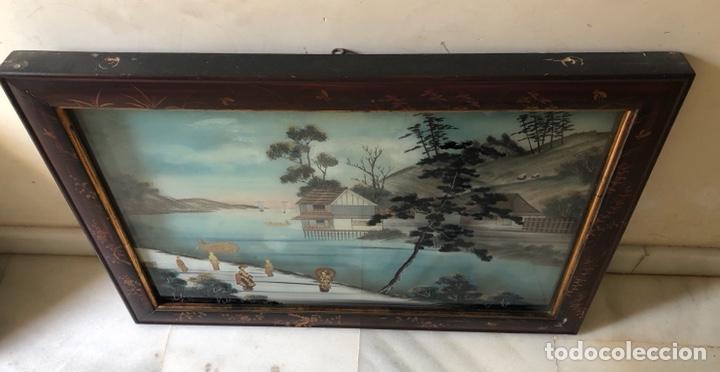 PRECIOSO CUADRO JAPONÉS ANTIGUO PINTADO SOBRE CRISTAL CON INCRUSTACIONES (Arte - Pintura - Pintura al Óleo Contemporánea )