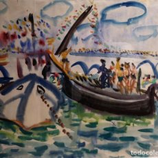 Arte: TENREIRO BROCHÓN , ANTONIO (A CORUÑA, 1923 - 2006). CUCAÑAS EN PUENTEDEUME. ACUARELA SOBRE PAPEL.. Lote 147603394