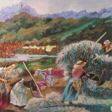Arte: CUADRO DE LA RECOLECCIÓN DEL PINTOR A. CERDÁN. Lote 147703190