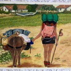 Arte: ÓLEO CON ESCENA COSTUMBRISTA SOBRE EL CAMINO DE SANTIAGO FIRMADO Y FECHADO EN 1999. Lote 147707370