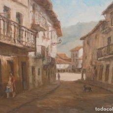 Arte: PAISAJE PUEBLO PERSONAJES OLEO SOBRE TABLEX FIRMADO NORBERTO MEDIDA 46 X 38 CM. BUENA PINTURA. Lote 147708826