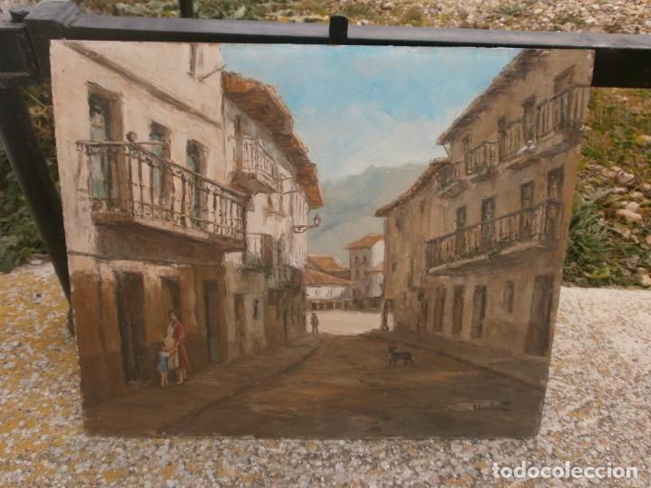 Arte: Paisaje pueblo personajes oleo sobre tablex firmado Norberto medida 46 X 38 cm. buena pintura - Foto 2 - 147708826