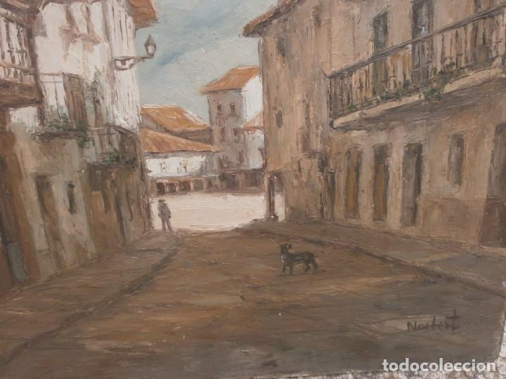 Arte: Paisaje pueblo personajes oleo sobre tablex firmado Norberto medida 46 X 38 cm. buena pintura - Foto 3 - 147708826