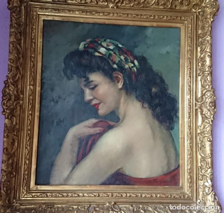 ÓLEO SOBRE TELA JOSEFINA TANGANELLI RETRATO MUJER DE PERFIL (Arte - Pintura - Pintura al Óleo Contemporánea )