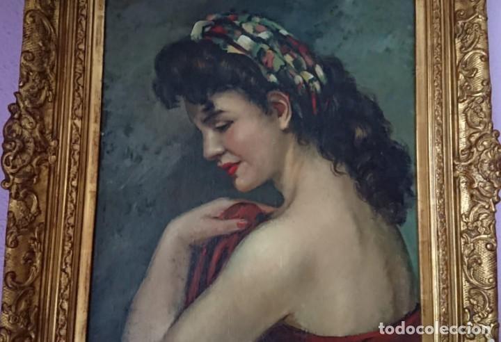 Arte: ÓLEO SOBRE TELA JOSEFINA TANGANELLI RETRATO MUJER DE PERFIL - Foto 2 - 147714118