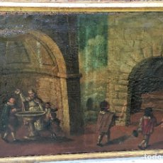 Arte: ÓLEO SOBRE LIENZO SIGLO XVIII, ESCENA BAUTISMAL. Lote 128662239