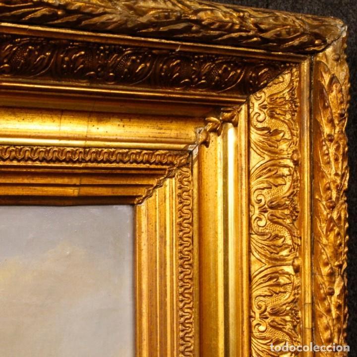 Arte: Pintura antigua al óleo sobre lienzo con paisaje y figura del siglo XIX - Foto 2 - 147782818