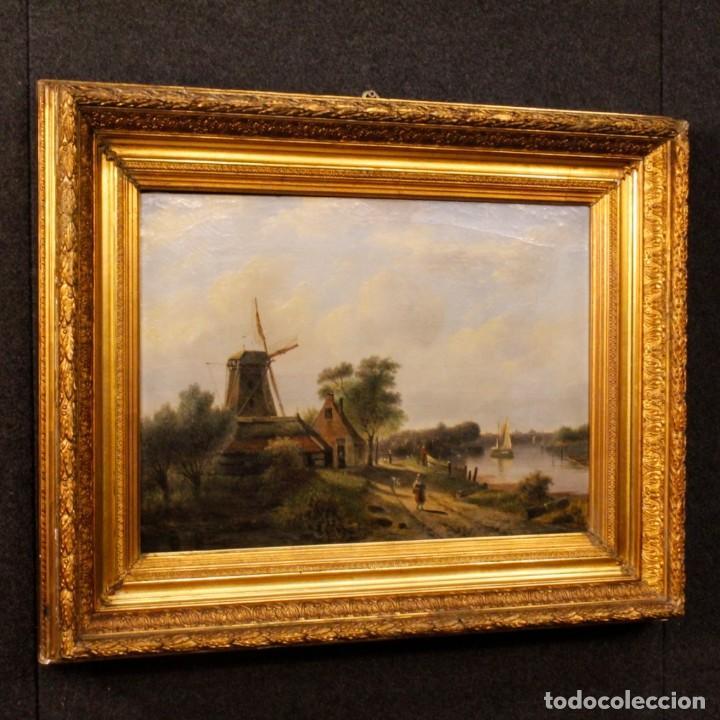 Arte: Pintura antigua al óleo sobre lienzo con paisaje y figura del siglo XIX - Foto 3 - 147782818