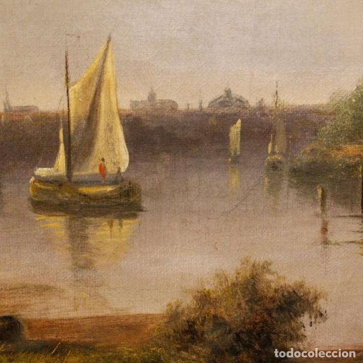 Arte: Pintura antigua al óleo sobre lienzo con paisaje y figura del siglo XIX - Foto 7 - 147782818