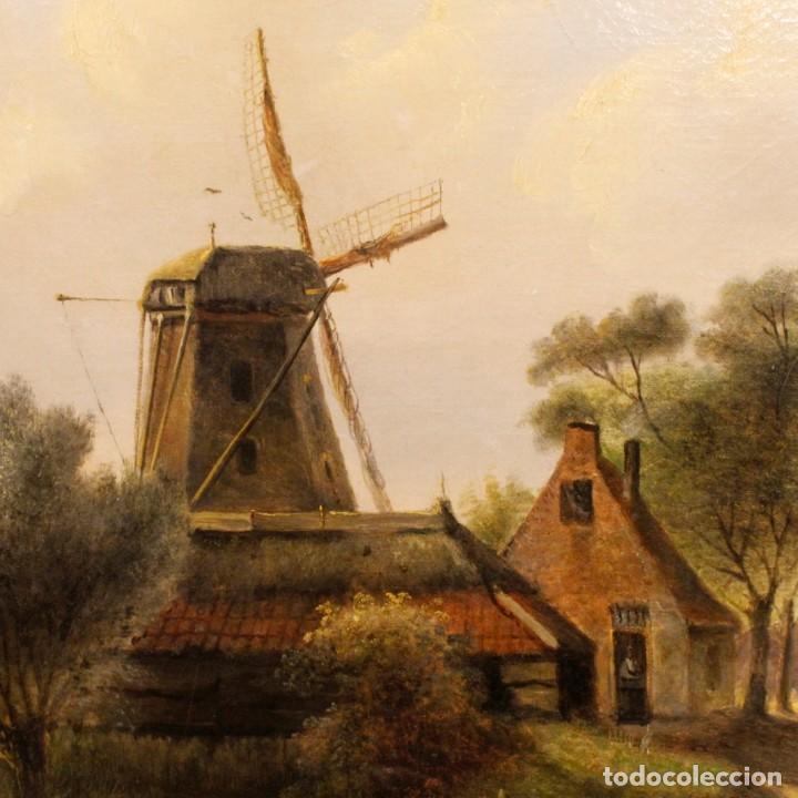 Arte: Pintura antigua al óleo sobre lienzo con paisaje y figura del siglo XIX - Foto 9 - 147782818