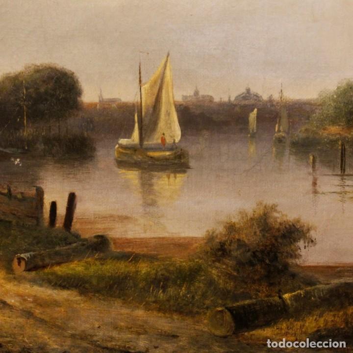 Arte: Pintura antigua al óleo sobre lienzo con paisaje y figura del siglo XIX - Foto 10 - 147782818