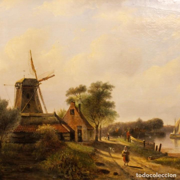 Arte: Pintura antigua al óleo sobre lienzo con paisaje y figura del siglo XIX - Foto 11 - 147782818