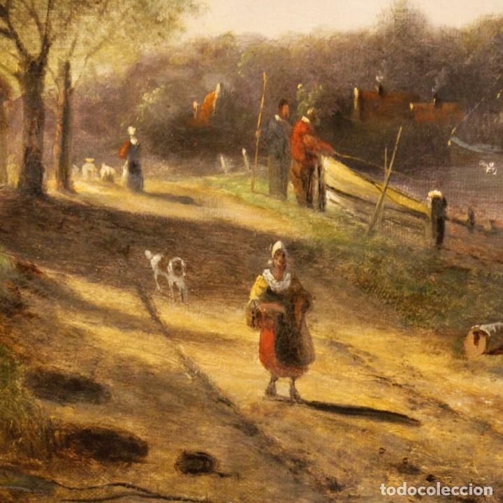 Arte: Pintura antigua al óleo sobre lienzo con paisaje y figura del siglo XIX - Foto 12 - 147782818