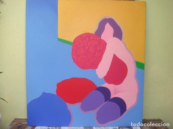 """Arte: EDUARDO URCULO (1938.+2003). ÓLEO SOBRE LIENZO """"EL ABRAZO DEL COLOR"""". 1970. - Foto 9 - 39826323"""