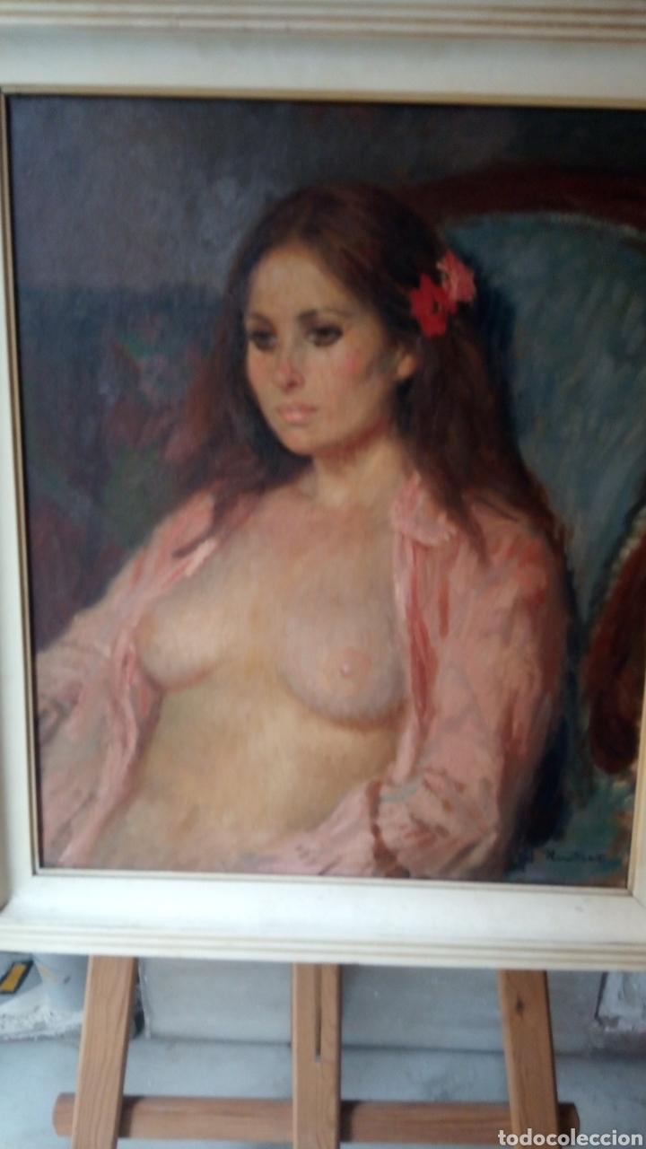 Arte: Espectacular óleo sobre lienzo,desnudo femenino , firmado Ramón Pichot Soler (Figueras 1924-1987) - Foto 4 - 147872700