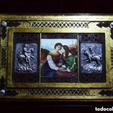 Arte: OBRA ÚNICA, OLEO SOBRE MADERA, ADORNOS REPUJADOS, HIERRO, ARTESANAL (59X41 CM). Lote 147886378