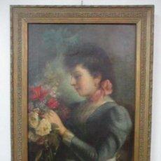 Arte: JAUME PONS MARTÍ ( BARCELONA ,1855 - GIRONA , 1931 ) - ÓLEO SOBRE TELA - RETRATO - FIGURA MODERNISTA. Lote 147907786