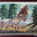 Arte: OLEO SOBRE TABLEX PAISAJE AÑOS 60 FIRMADO R. LEAL. TAMAÑO DEL MARCO 66 X 38 CM. Lote 147925602