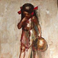 Arte: ALBERT LOCCA, PRECIOSA PINTURA VINTAGE NIÑA, FIRMADA.. Lote 147988674