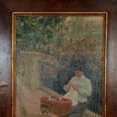 Arte: LA COSTURERA. ÓLEO SOBRE TELA ADHERIDA A TABLA. ANÓNIMO. SIGLO XIX-XX. Lote 148006886