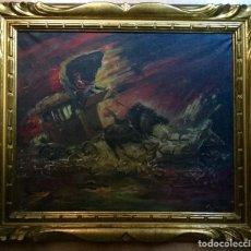 Arte: ANTIGUO ÓLEO CON CARROZA DE CABALLOS EN ESTAMPIDA. Lote 148013514