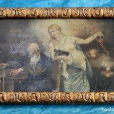 Arte: ANTIGUO ÓLEO SOBRE TABLA - ANCIANO Y JOVEN CON BALANZA - BELLA REPRESENTACIÓN - OBRA ENMARCADA . Lote 148014714