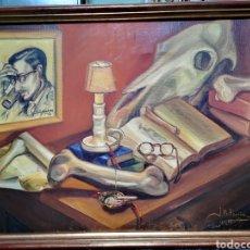 Arte: JOSÉ PEREIRO MIGUENS, SANTIAGO DE COMPOSTELA, 1928, BODEGÓN MACABRO. FIRMADO Y FECHADO.. Lote 148109069