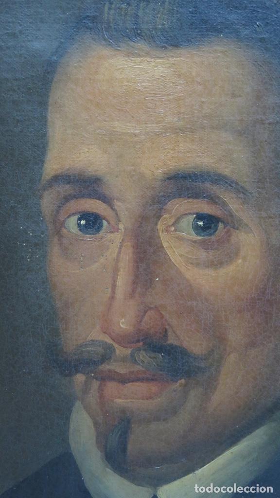 Arte: RETRATO DE LOPE DE VEGA Y CARPIO. OLEO SOBRE LIENZO. SIGLO XVIII - Foto 3 - 148282614