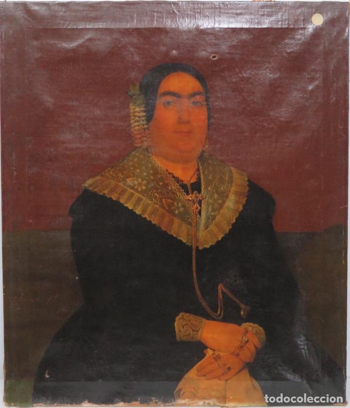 RETRATO DE MUJER CON JOYAS. OLEO SOBRE LIEZO. HACIA 1840. ESCUELA ESPAÑOLA (Arte - Pintura - Pintura al Óleo Moderna siglo XIX)