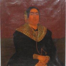 Arte: RETRATO DE MUJER CON JOYAS. OLEO SOBRE LIEZO. HACIA 1840. ESCUELA ESPAÑOLA. Lote 148283946