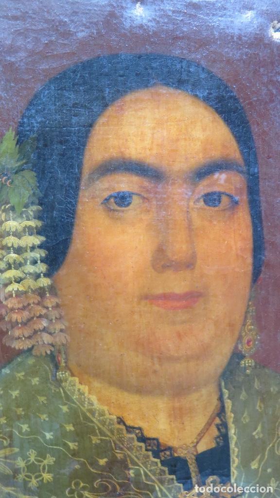 Arte: RETRATO DE MUJER CON JOYAS. OLEO SOBRE LIEZO. HACIA 1840. ESCUELA ESPAÑOLA - Foto 10 - 148283946
