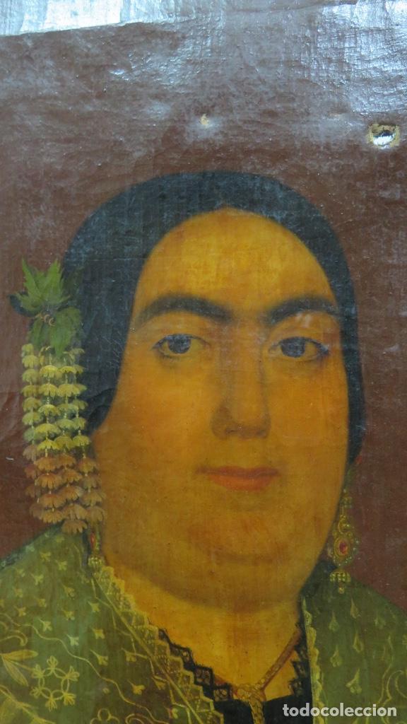 Arte: RETRATO DE MUJER CON JOYAS. OLEO SOBRE LIEZO. HACIA 1840. ESCUELA ESPAÑOLA - Foto 11 - 148283946