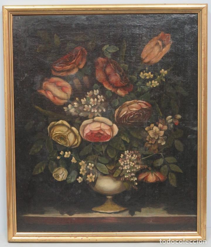 INTERESANTE BODEGON O FLORERO. OLEO S/LIENZO. SIGLO XVII-XVIII. ESCUELA ESPAÑOLA (Arte - Pintura - Pintura al Óleo Antigua siglo XVIII)