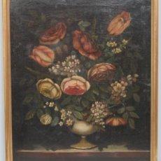 Arte: INTERESANTE BODEGON O FLORERO. OLEO S/LIENZO. SIGLO XVII-XVIII. ESCUELA ESPAÑOLA. Lote 148292222