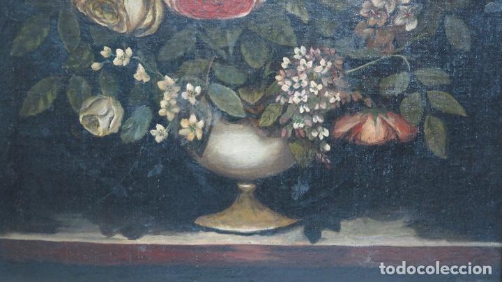 Arte: INTERESANTE BODEGON O FLORERO. OLEO S/LIENZO. SIGLO XVII-XVIII. ESCUELA ESPAÑOLA - Foto 3 - 148292222