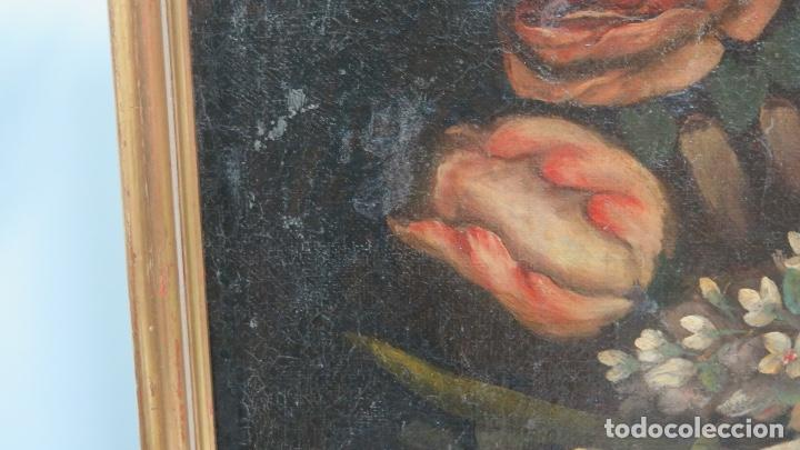 Arte: INTERESANTE BODEGON O FLORERO. OLEO S/LIENZO. SIGLO XVII-XVIII. ESCUELA ESPAÑOLA - Foto 4 - 148292222