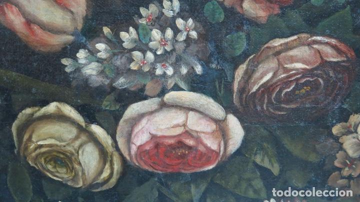 Arte: INTERESANTE BODEGON O FLORERO. OLEO S/LIENZO. SIGLO XVII-XVIII. ESCUELA ESPAÑOLA - Foto 5 - 148292222