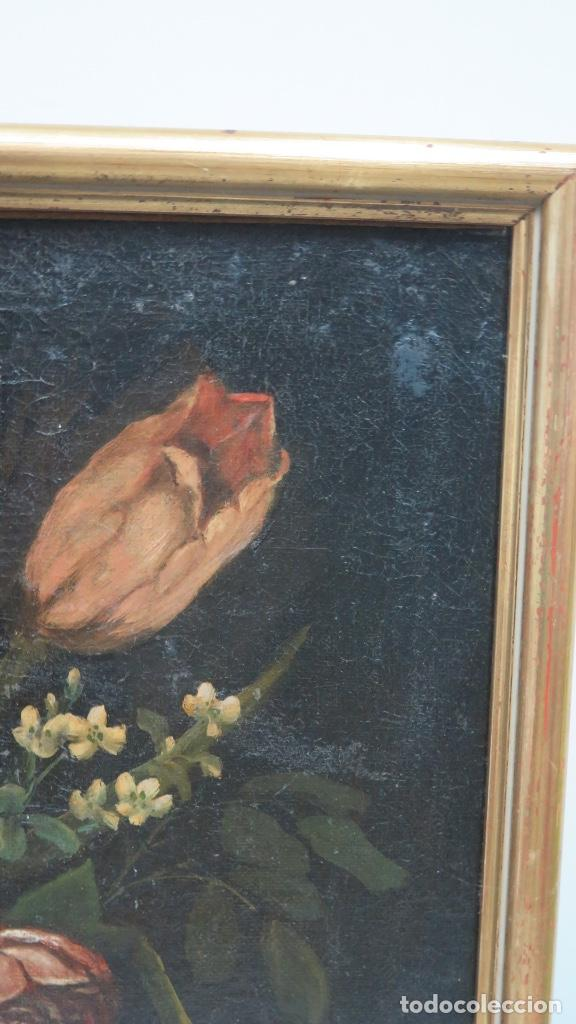 Arte: INTERESANTE BODEGON O FLORERO. OLEO S/LIENZO. SIGLO XVII-XVIII. ESCUELA ESPAÑOLA - Foto 7 - 148292222